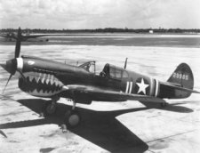 Curtiss P-40 Warhawk single seat interceptor and fighter bomber